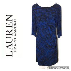 Ralph Lauren Blue Ruched Waist Dress